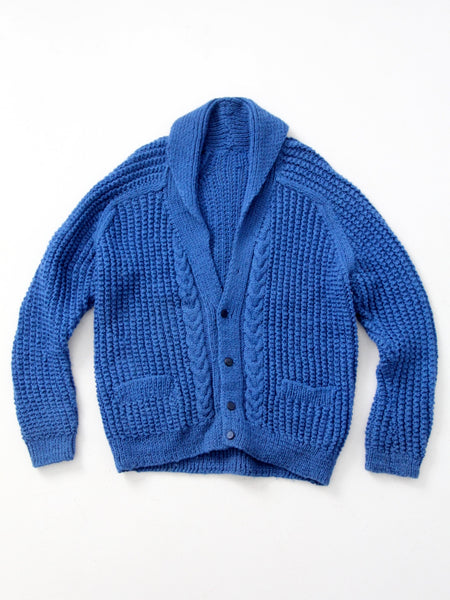 vintage hand-knit shawl collar sweater