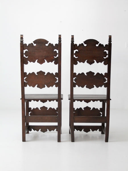 antique gothic carved wood hall chairs - a pair