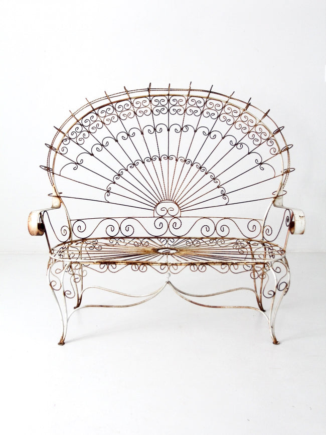 wrought iron peacock settee