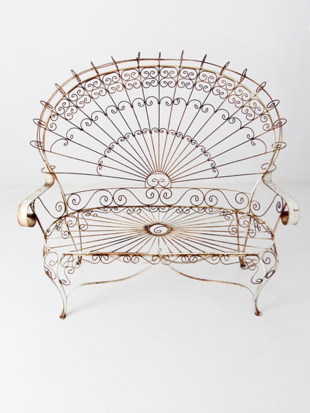 wrought iron peacock loveseat