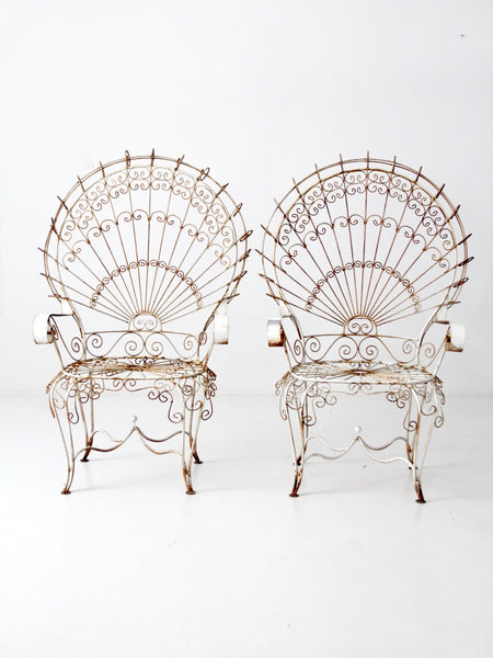 wrought iron peacock chairs