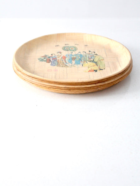vintage Chinese bamboo plate set of 6