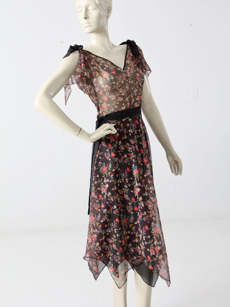 vintage 70s handkerchief hem dress