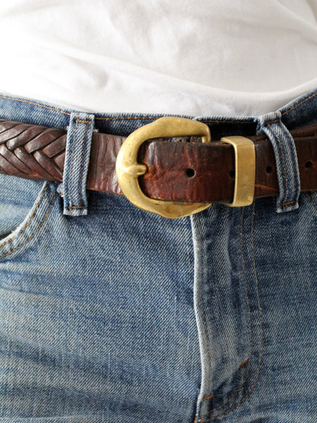 vintage 70s braided leather belt