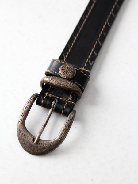 vintage western style English bridle leather belt