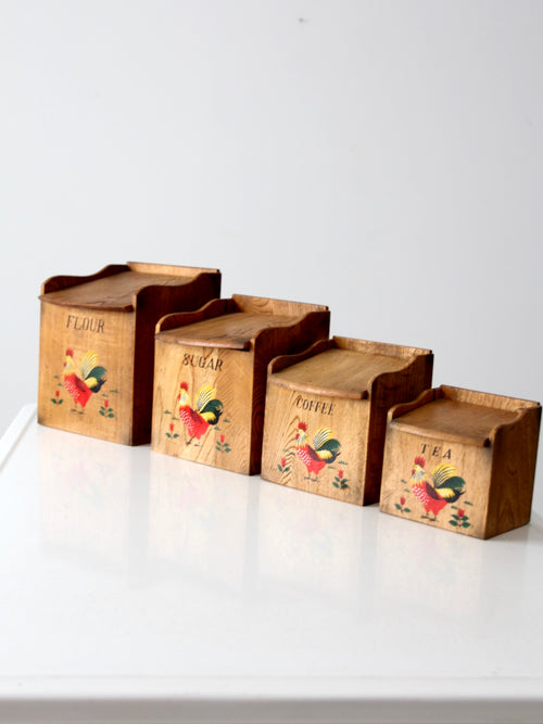 mid-century rooster kitchen canisters set