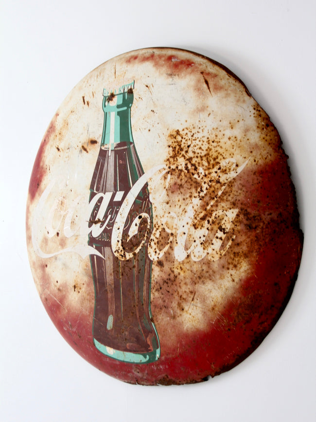 vintage Coca-Cola metal button sign