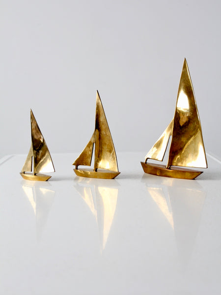 mid-century brass sailboats