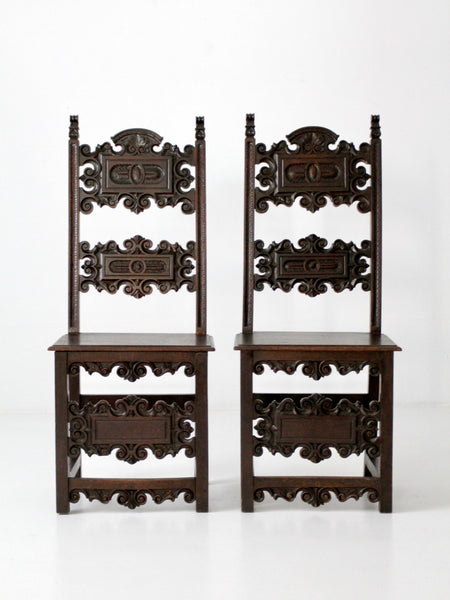 antique Gothic carved wooden hall chairs