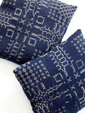 antique blue and white coverlet pillows
