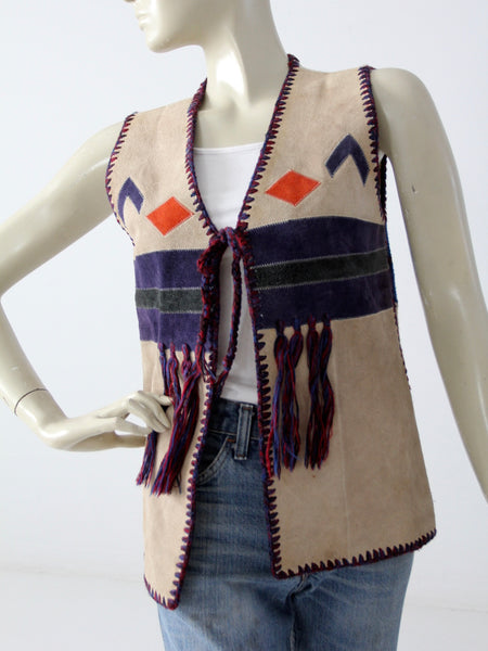 vintage 70s suede and knit hippie vest