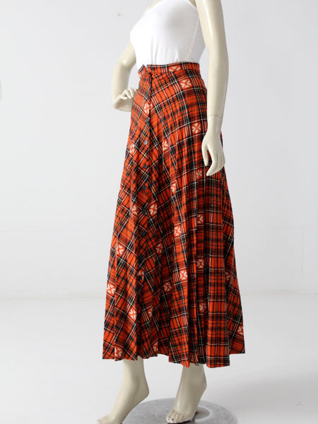 vintage 70s plaid maxi skirt