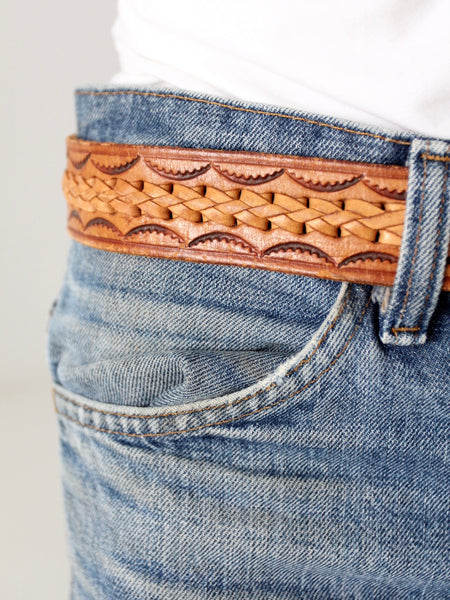 vintage 70s tooled leather belt