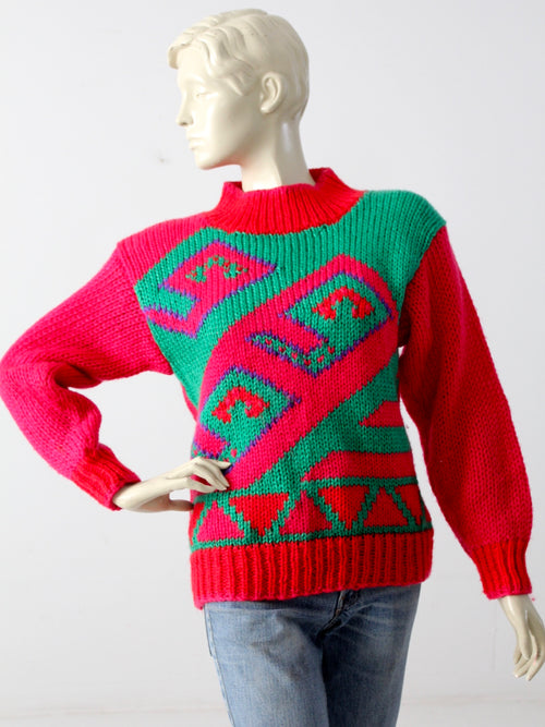 vintage 80s geometric sweater