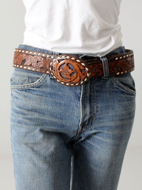 vintage Circle Y tooled leather belt