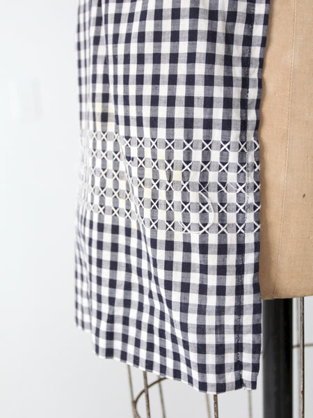 vintage gingham kitchen apron