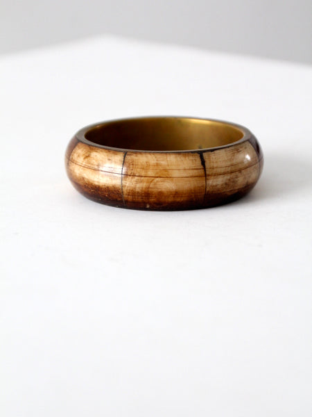 vintage bone + brass bangle