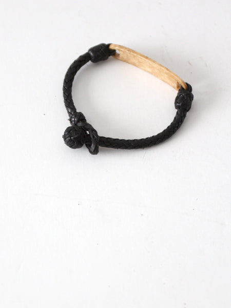 vintage bone and leather bracelet