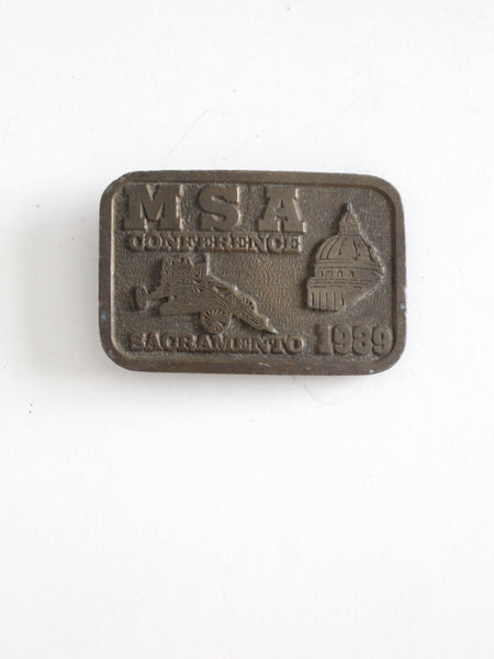 vintage 1989 MSA Conference brass buckle