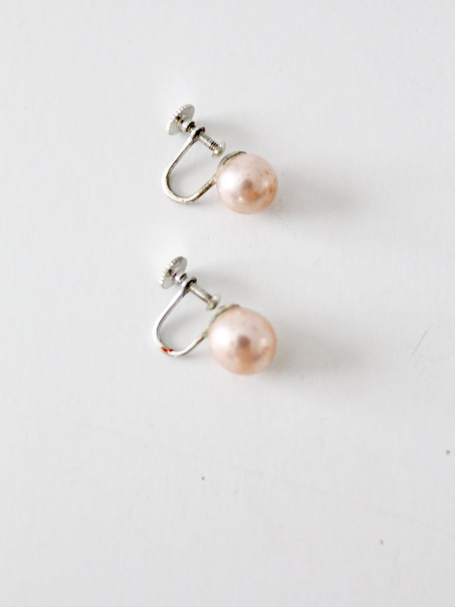 vintage pink faux pearl earrings made in Japan