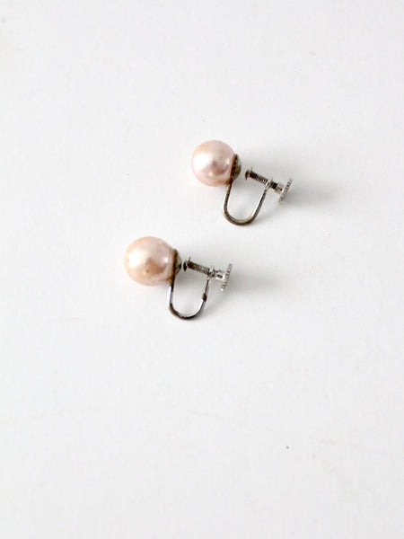 vintage Japanese pink faux pearl earrings