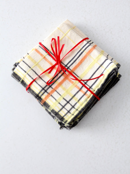 vintage plaid lunch napkins
