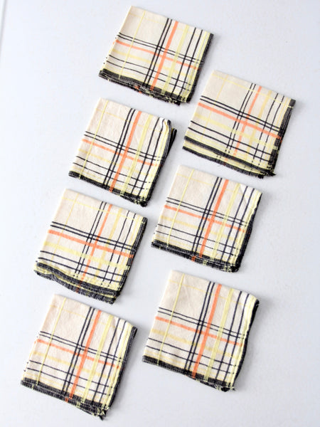 vintage plaid lunch napkins set