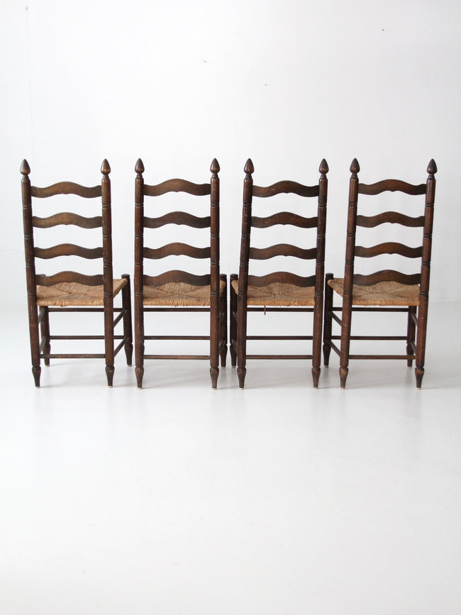 antique colonial style ladder back chairs