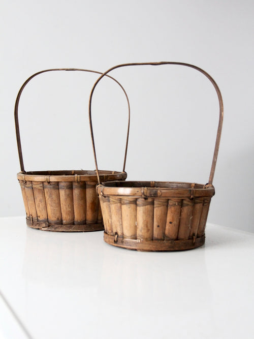 vintage bamboo handle baskets, set of 2