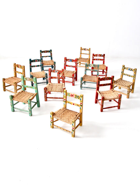 vintage Mexican folk art children's chairs