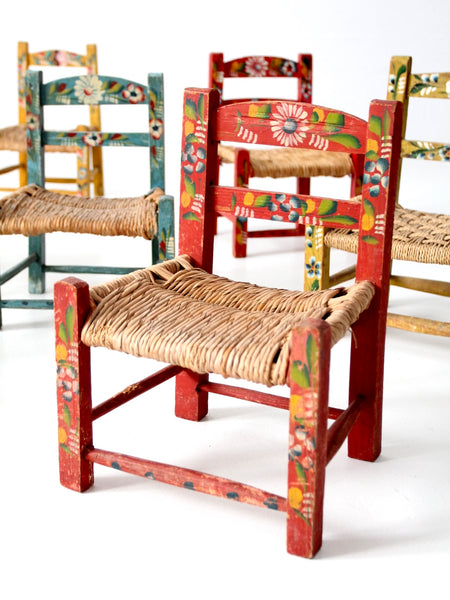 Mexican folk art children's chairs collection