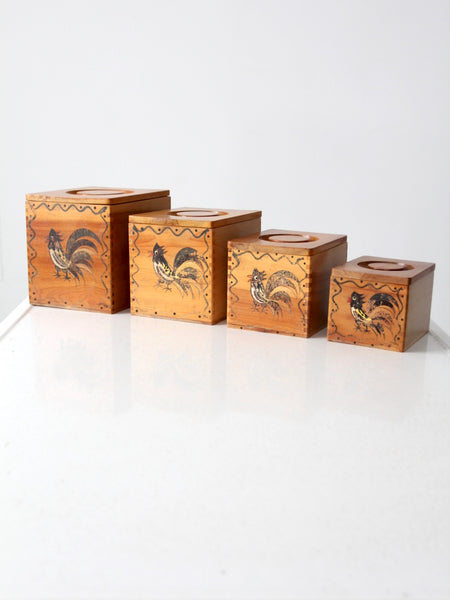 mid-century rooster kitchen storage set