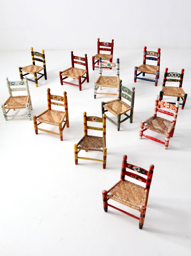 vintage Mexicana folk art children's chairs collection