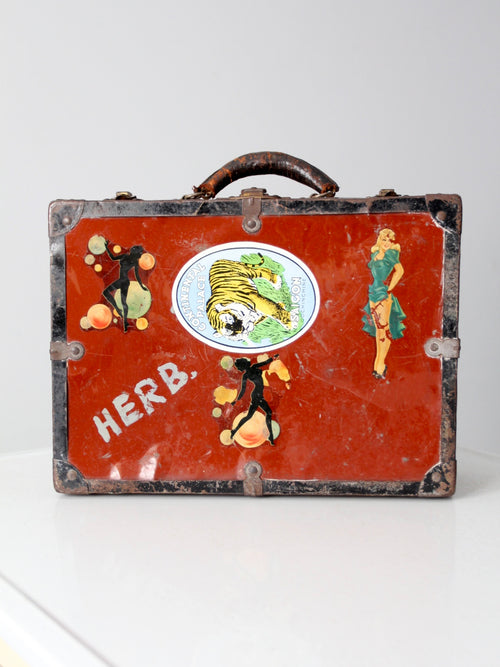 vintage metal luggage case