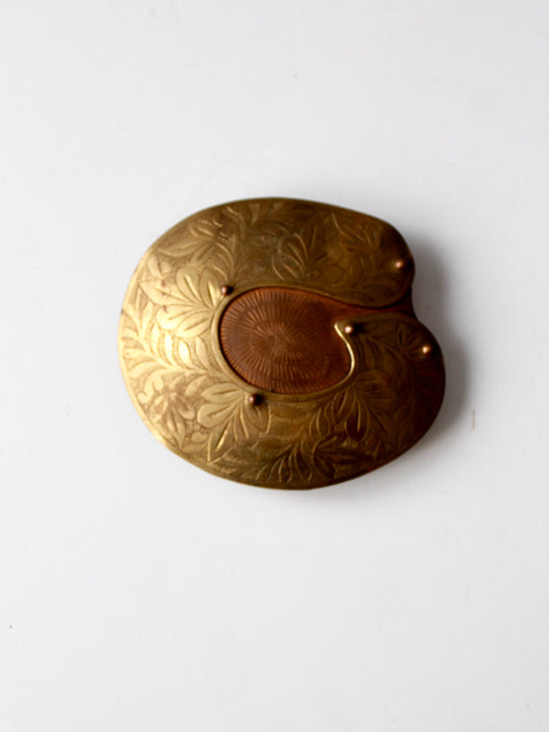 vintage large brass and copper buckle