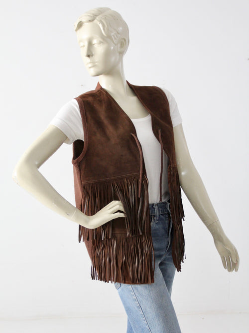 vintage fringe suede and knit vest