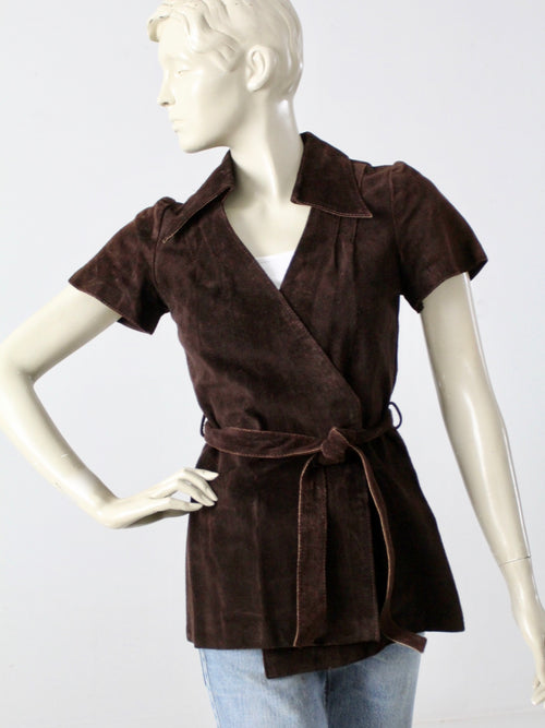 vintage 70s suede leather wrap shirt