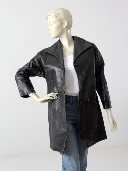 vintage 1970s Californian leather car coat