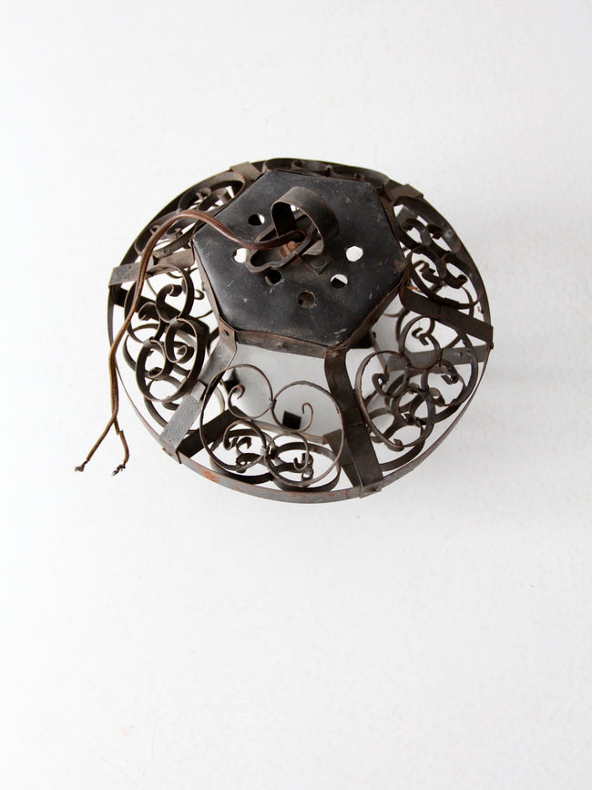 mid-century small wrought iron pendant light