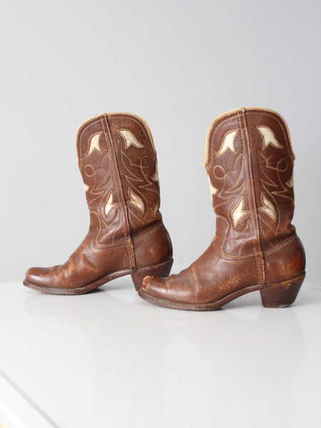 vintage inlay leather cowboy boots