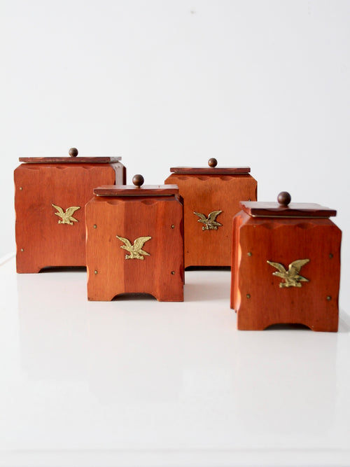 vintage wooden canisters, set of 4