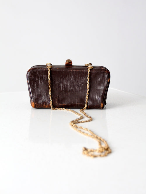 vintage 60s leather and chain crossbody bag