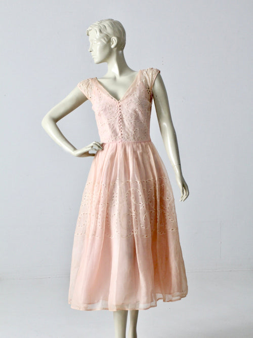 vintage 1950s pink tea length dress