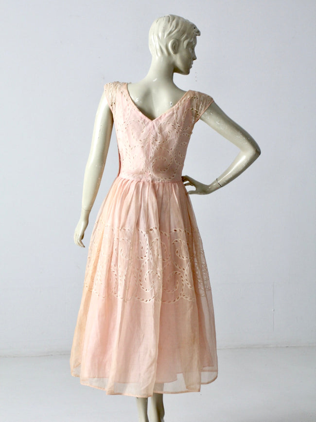 vintage 50s pink party dress