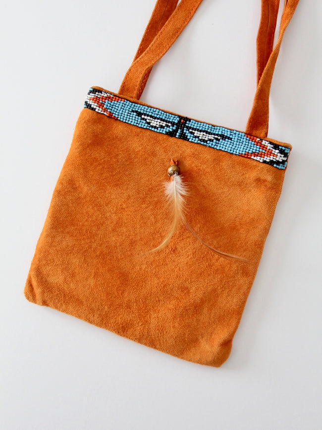 vintage tribal beaded suede bag