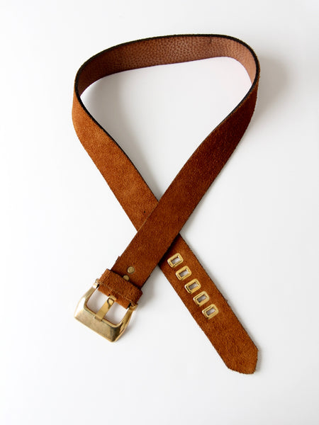 vintage brown suede fashion belt