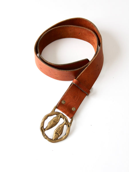 vintage Pisces zodiac buckle leather belt