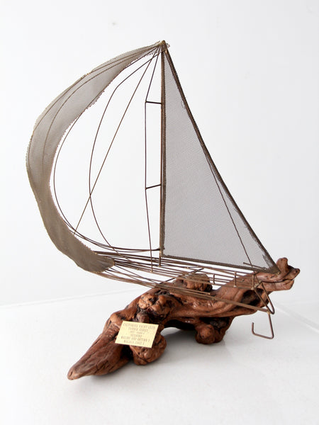 vintage brass and driftwood boat sculpture