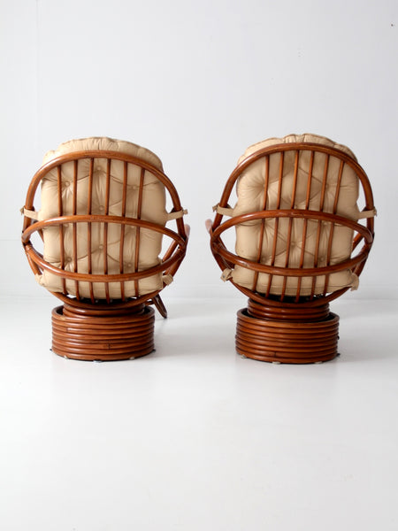 mid-century rattan swivel chairs with ottomans