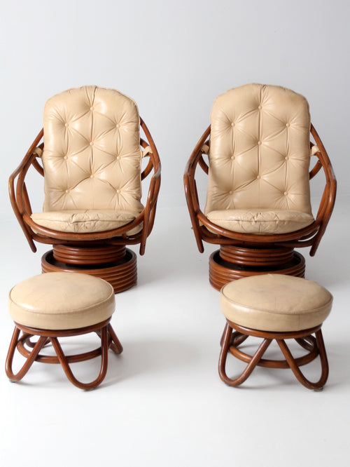 mid-century rattan lounge chairs with ottomans